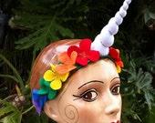Rainbow Unicorn horn headband - white horn with rainbow felt flowers