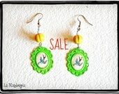 SALE 15% OFF Swallow green yellow Earrings. Vintage Traditional Tattoo Inspired. Original artwork