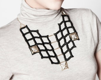Lace geometric necklace - The Grid - Black lace with brass