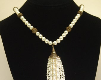 Ivory Pearl Tassel Necklace
