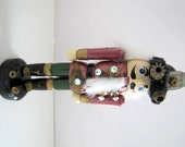 Steampunk No. D56 Miniature Nutcracker Ornament with Tiny Vintage Gears and Goggles