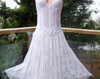 White Lace dress, Strapless lace dress, white Corset Dress, Sheer Lace dress, size XS