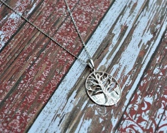 Sterling Silver Tree Necklace - Family, Bonding, Ancestry, Children, Woodlands, New Mom, Love