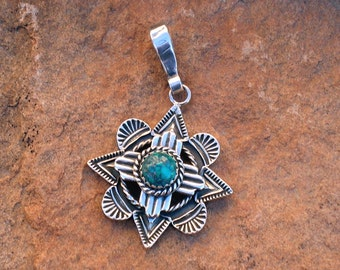 PTWZ New Mexico Zia Symbol Over Mission Window Southwestern Native Style Turquoise and Silver Pendant