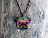 Day of the Dead Fawn Pug Sugar Skull Dog Necklace