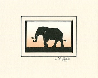 Elephant Hand Cut Papercut