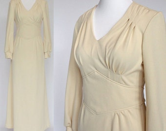 60's / 70's  Empire Waist Maxi Dress / Beige / Polyester Knit / Long Sleeves / XSmall