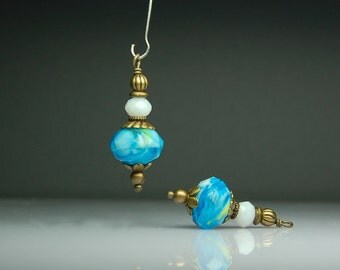 Vintage Style Bead Dangles Turquoise Blue Glass Pair BL0085