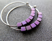 purple earrings. hematite jewelry. plum niobium hoops.