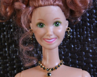 Black Drop Rhinestone Chain Necklace Fashion Doll Jewelry Set fits 1/6th Scale 11 1/2 - 12 inch dolls