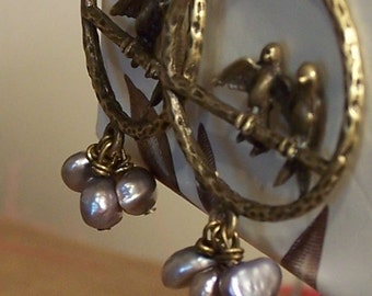 LoveBirds on a Wire - Brass Findings and Freshwater Pearls