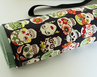 Yoga Mat Bag, Yoga Mat Carrier, Folklorico, Sugar Skulls, Day of the Dead