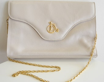 Vintage IMAGNIN 50s / 60s Italian leather purse with BICYCLE emblem
