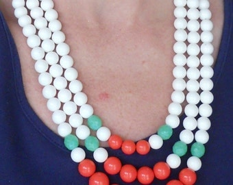 SALE--White, Coral and Jadeite Statement Necklace