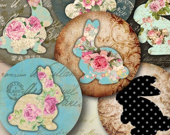 Printable download SHABBY BUNNIES 2.5 inch size images Digital Collage Sheet for Pocket Mirrors cupcake toppers Paper Weights Gift tags