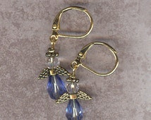 Pale Blue Sapphire crystal Angel charm earrings birthstone crystal earrings beaded earrings holiday angel jewlery Christmas JunQueJules