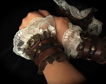 Romantic Victorian Steampunk Cuffs Leather & LACE  sexy slave bracelets / bdsm cuffs, white or off-white lace, brass, brown leather