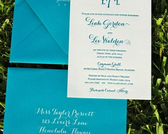 Letterpress Wedding Invitation, Letterpressed Rehearsal Dinner Invitations, Palm Tree Monogram