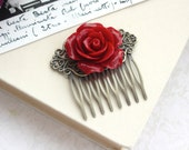 Red Flower Comb. Vintage Style Antiqued Brass Hair Comb. Rustic Red Wedding. Bridesmaids Gifts. Red Rose Wedding. Winter Red Valentine day