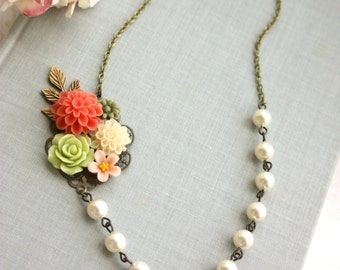 Coral, Green, Ivory Pearls, Sage Green, Pink Collage Flower Necklace. Bridesmaids Gift. Garden Bridal Wedding. Sis, Mom, BFF Birthday