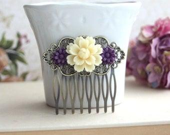 Ivory, Amethyst Purple, Dark Egg Plant Chrysanthemum Flower Comb. Antiqued Brass Mum Flower Hair Comb. Bridesmaid Gift. Purple Wedding Idea