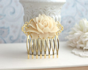 Cream Beige Rose Flower Comb Rose Hair Comb Antiqued Brass Comb Beige Rose Floral Bridal Comb Bridesmaid Gift Flower Girl Gift Romantic Comb