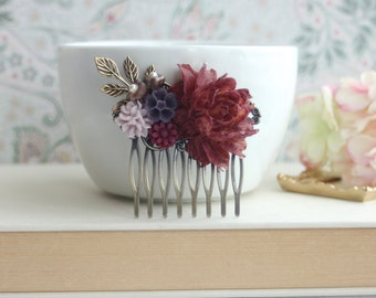 Plum Red, Maroon Red, Wine, Lilac, Purple Large Rose, Pearl, Flower Collage Hair Comb. Bridesmaid Hair Accessories, Fall Inspired Comb, Sis