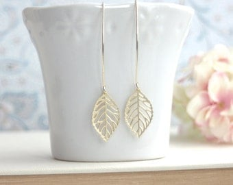 Gold Leaf Earrings. Gold Plated Leaves Long Dangle Marquise Earrings.  Modern everyday Classic Earrings. Bridesmaids Gifts.  For Sister.