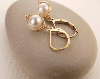 White pearl earrings, gold earrings, handmade wire wrapped jewelry, dangle earrings, bridal jewelry, bridesmaid gift - Petite Pearls