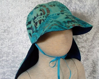 Safari Hat - Reversible -  turquoise batik with marbled reverse -  XS to L