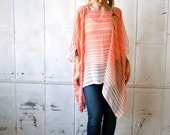 Coral Pink White Sheer Striped Caftan~Caftan Dress~Caftan Dress~Beach Coverup Caftan~Layering Clothing~Summer Clothing~Plus Size Shirt~Loose