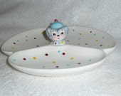 Vintage Lefton ESD Puppy Pal Poodle Dog DIVIDED Serving Tray Dish Miss Priss Toodles Blue Yellow Red Mid-Century Kitsch Retro Kitchen