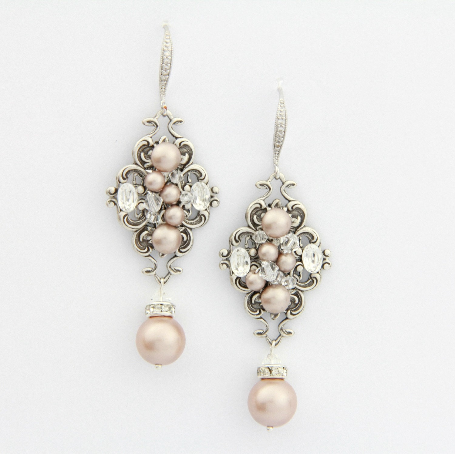 Blush champagne pearl earrings chandelier wedding earrings for Jewelry for champagne wedding dress