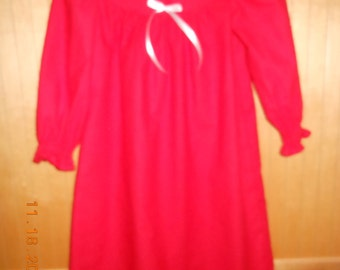 Size 3 red flannel nightgown