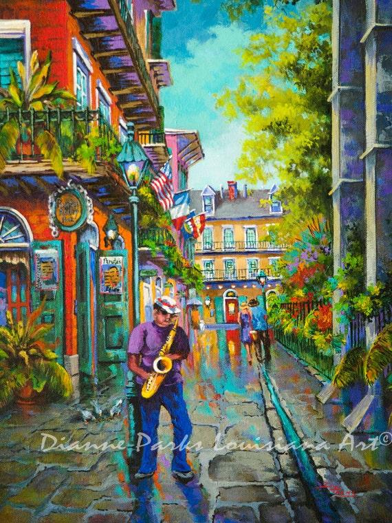New Orleans Art Pirates Alley Saxophone Jazz by DianneParksArt