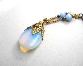 Neo Victorian, Opal Necklace,  Blue Teardrop Necklace