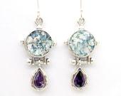 Drop shape Purple zircon silver earrings with roman glass