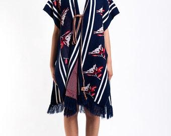 The Vintage Navy Birdie Sweater Wrap Shawl