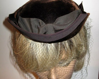 Chocolate Brown Velvet Sally Victor Hat