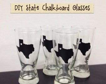 150 State Chalkboard Labels - TEXAS - DIY Chalkboard Mason Jars, Place Settings, Wedding Favors--All States Available