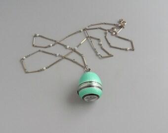 Art Deco Enamel Watch. Guilloche in Mint Green & Black.  Swiss.