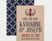 Sail Away Save The Date, Nautical, Anchor, Rope Pattern, Wedding Announcement, Bridal Shower