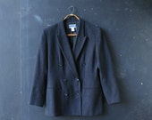 Pendleton Wool Jacket Blazer Women Vintage Size 8 Charcoal Gray or Black Double Breasted Vintage From Nowvintage on Etsy