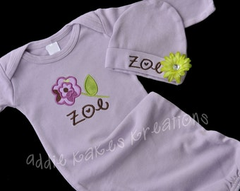 Applique Flower Baby Girl Personalized Gown and Beanie Hat Set with Flower Clip