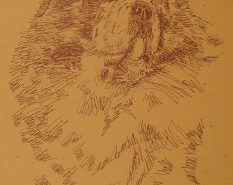 Chow Chow dog art portrait drawing from words. Your dog's name added into art FREE. Great gift. Signed Kline 11X17 Lithograph 133/500.