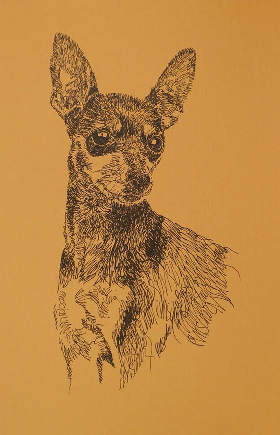 Miniature Pinscher dog art portrait drawing from words. Your dog's name added into art FREE. Great gift. Signed Kline 11X17 Lithograph #134