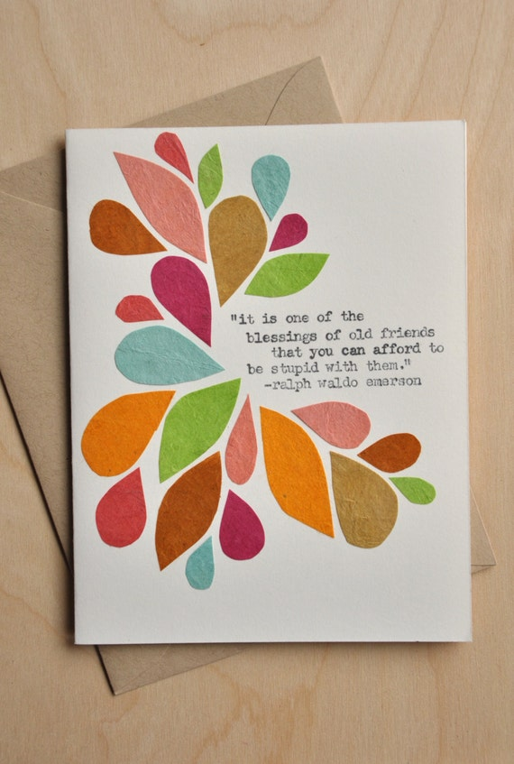 Friendship card handmade greeting blessing of old