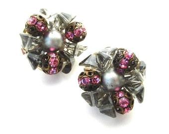 HOBE Glass Bead Earrings Signed Filigree Smoke Grey Pink Rhinestones
