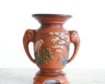 Vintage Pottery Vase with Elephant Head Handles