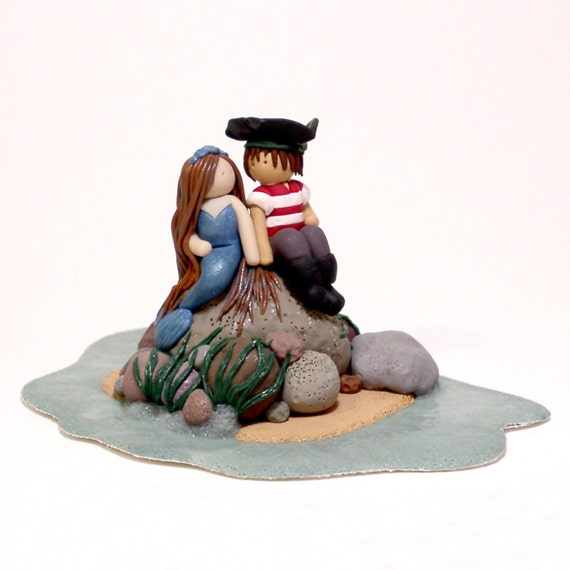 pirate ship wedding cake topper the mermaid and the pirate wedding cake topper by thingbats 18617